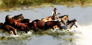 Equine River Crossing by Don Weller